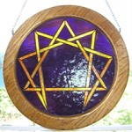 Stained Glass Enneagram - red-orange lines on cobalt blue background